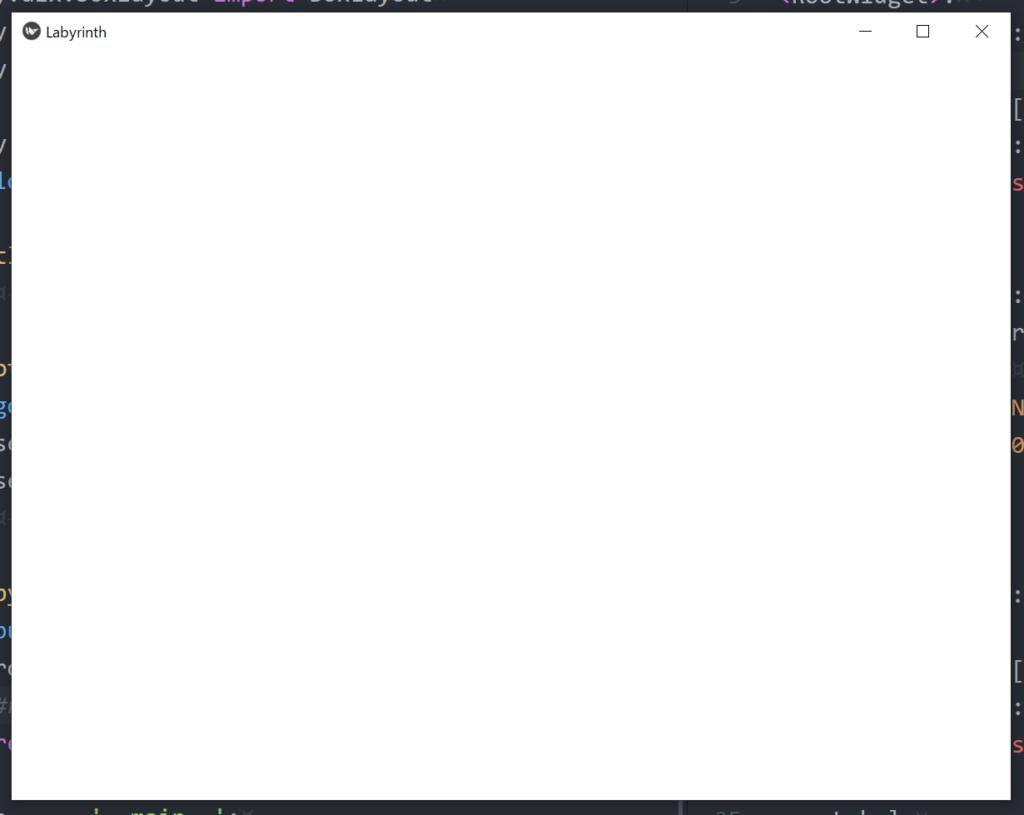 アプリケーションの基礎となるレイアウトの実行画面