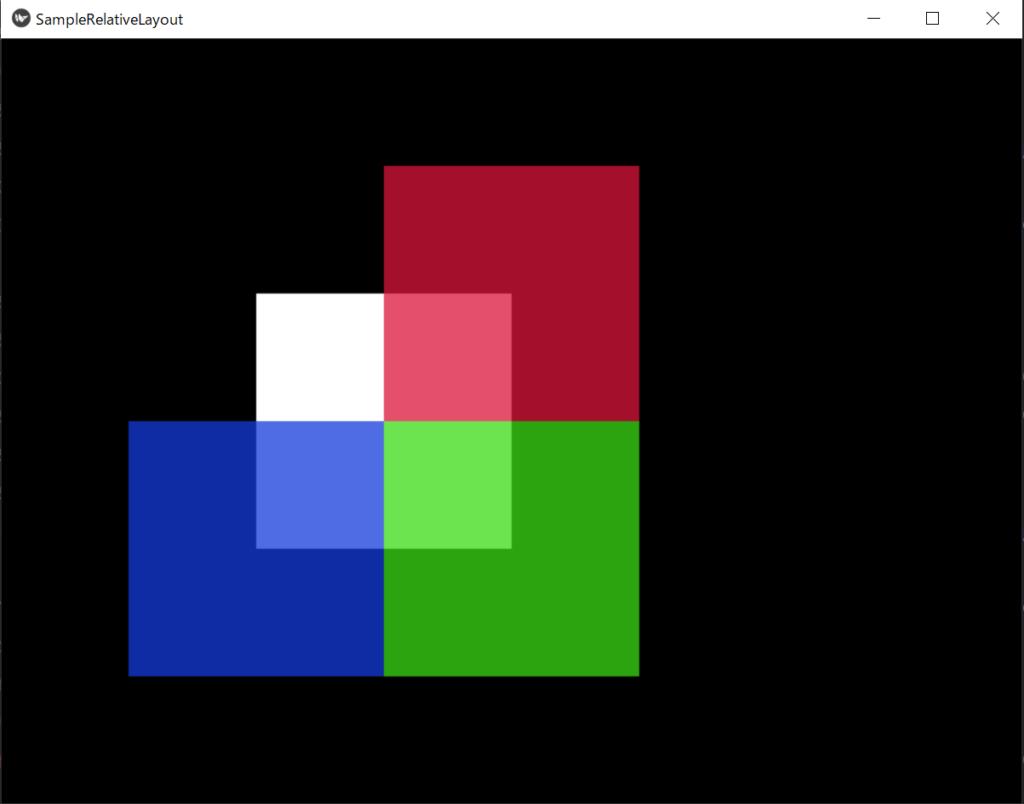 白色の正方形であるRelativeLayoutに赤、青、緑の正方形を追加した画像