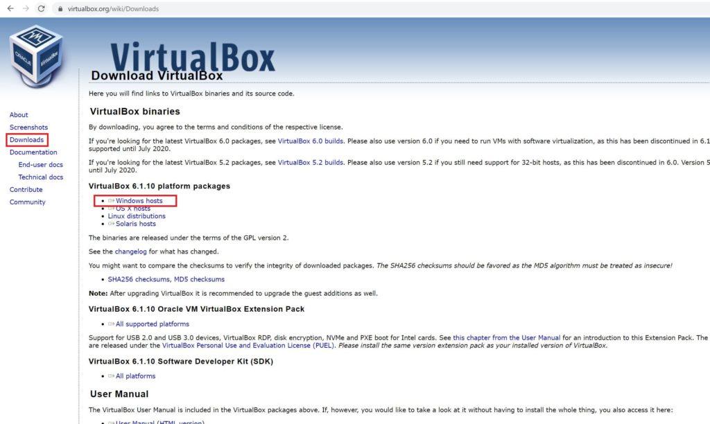 バーチャルボックスのダウンロードページ