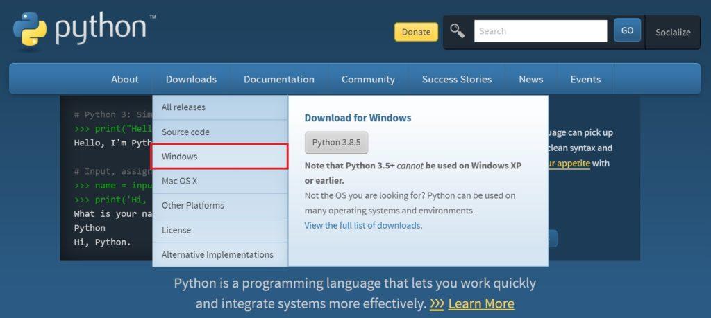Python公式サイトにおいてダウンロードの欄のwindowクリック