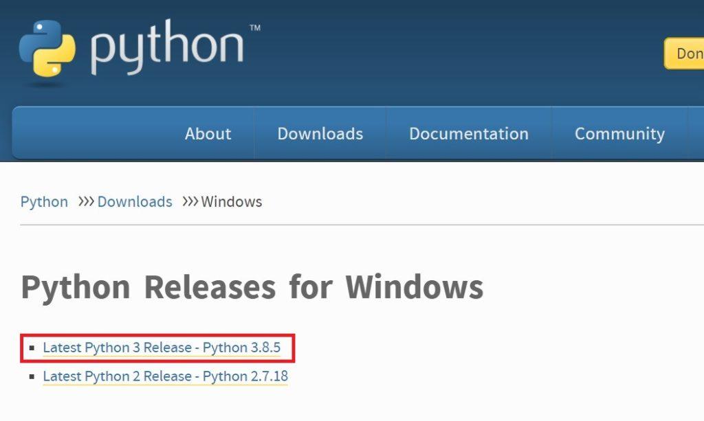 最新リリースのpython 3.8.5をクリック